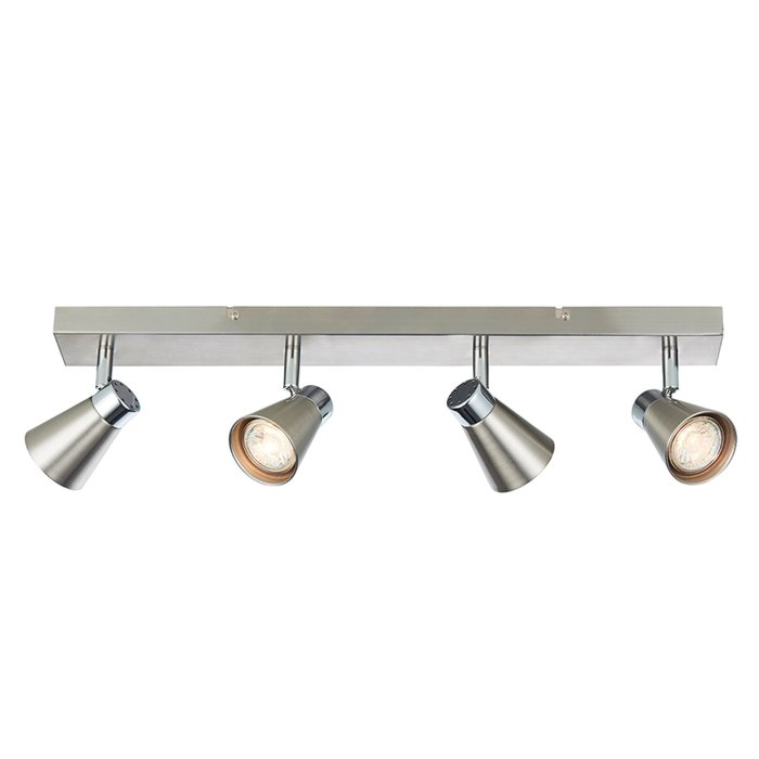 Key - 4 Head Spotlight Bar Ceiling Light - Satin Nickel