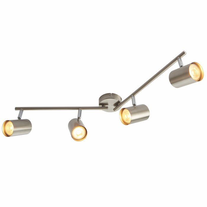 Zetto - 4 Light Bar Spotlight - Satin Chrome & Chrome Plate