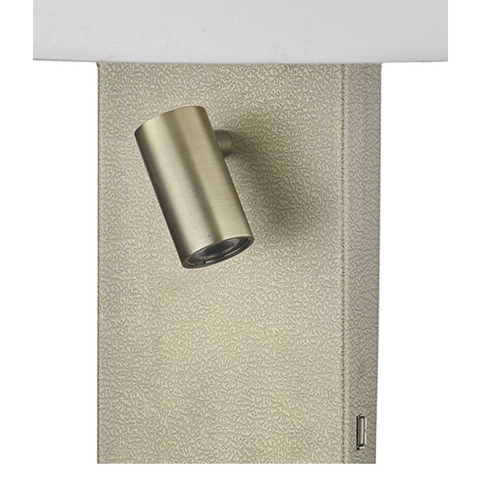 Leo - Textured Aged Brass Wall Light with LED Reader & USB Charger Port