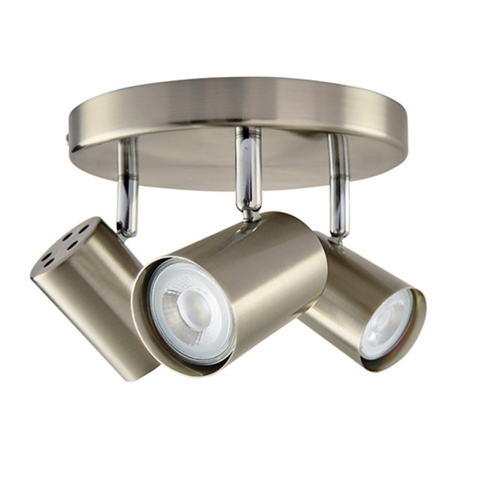 Zetto - 3 Light Round Spotlight - Satin Chrome