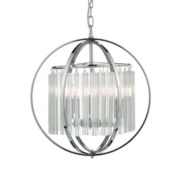 Contemporary Globe Pendant - Polished Chrome & Crystal Glass