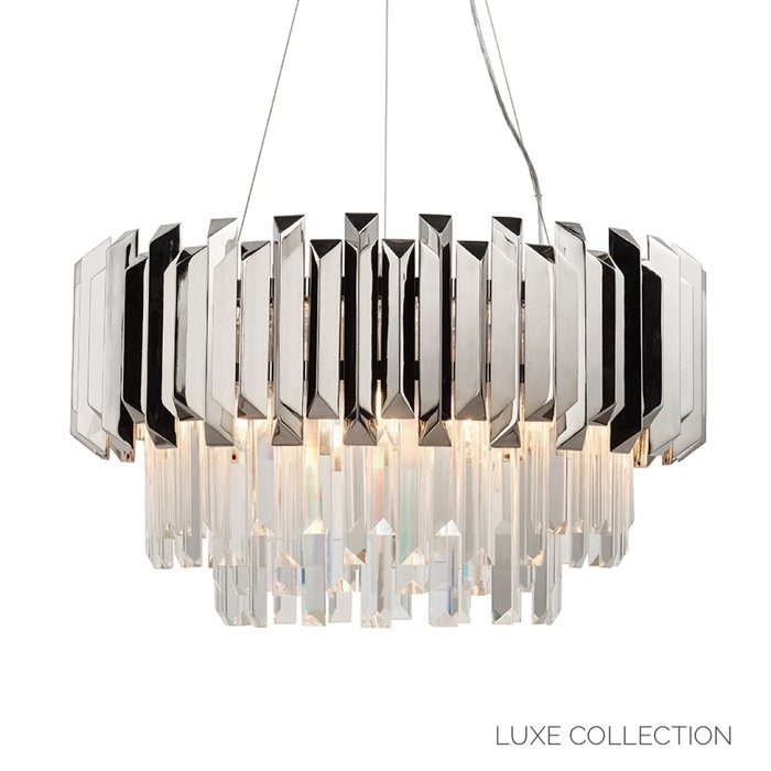 Caletta - Crystal Prism & Nickel Grand Chandelier