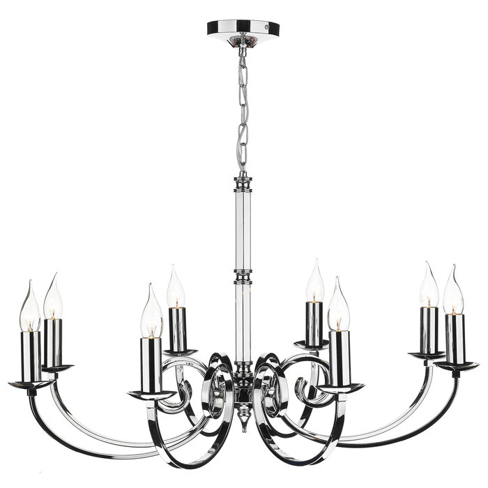 8 Light Candle Chandelier - Polished Chrome