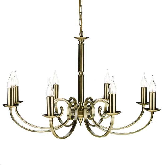 8 Light Candle Chandelier - Antique Brass