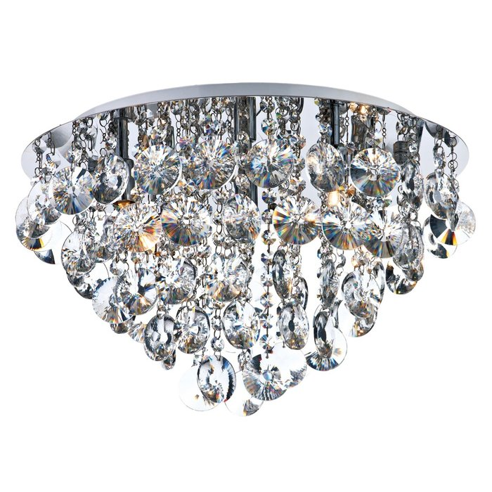 Clear Crystal Flush Chandelier - Polished Chrome