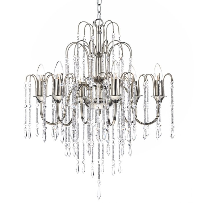 6 Light Waterfall Chandelier - Polished Nickel