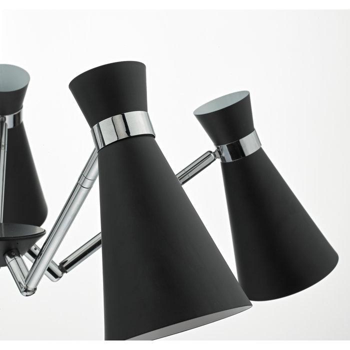 Ash - 5 light Modern Pendant - Black & Polished Chrome