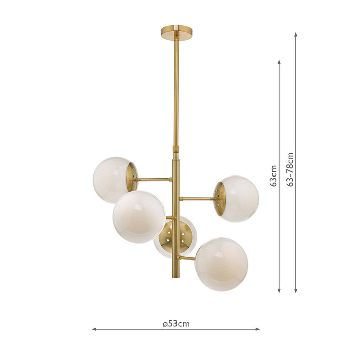 Bomba - Natural Brass & Opal Glass - 5 Light