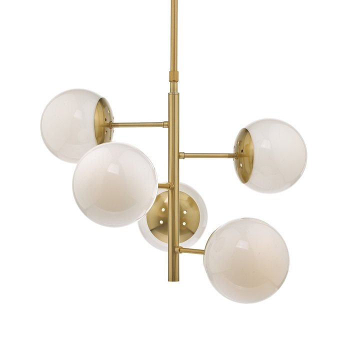 Bomba - Natural Brass & Opal Glass - 5 Light