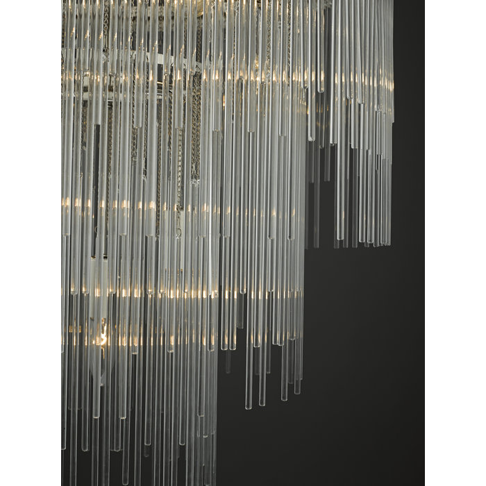 Isla - 7 Light Glass Rod Feature Light - Polished Chrome Art Deco  Feature Light