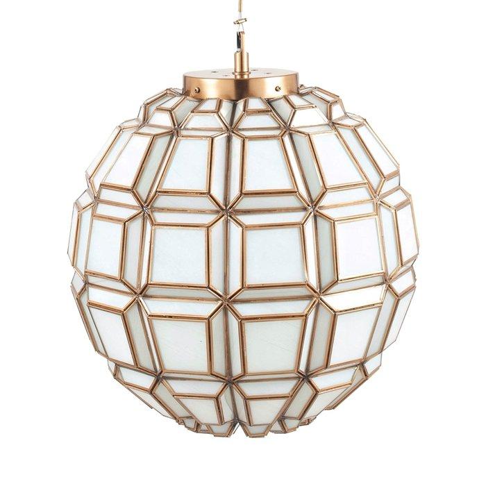 Moroccan Globe Feature Pendant - Antique Brass & White Glass