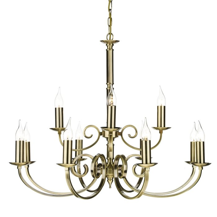 12 Light Candle Chandelier - Antique Brass
