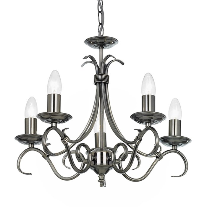 Bern - Classic Scroll Arm Chandelier - Antique Silver