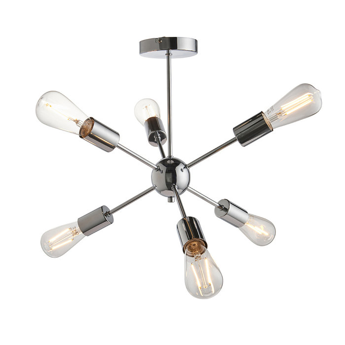 Ruby - Modern Sputnik Semi Flush Feature Light - Chrome