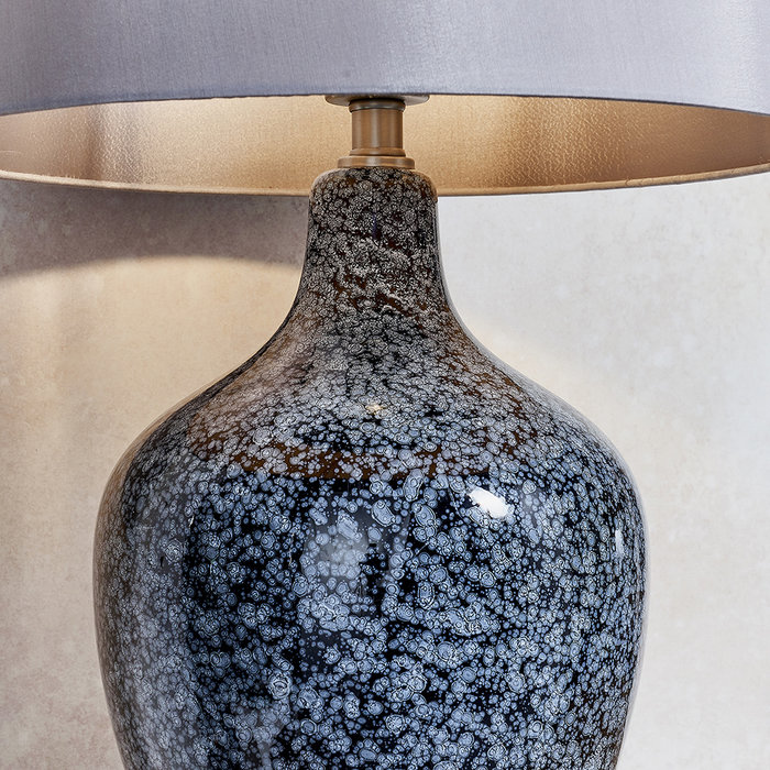 Speckle - Painted Black/Grey Glass Table Lamp with Mink Faux Silk Shade