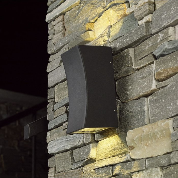 Jax - Modern Up and Down Outdoor LED Wall Light - Dark Grey