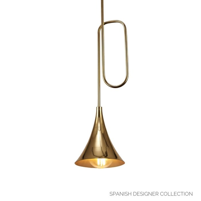 Swing - Musical Trombone Feature Pendant - Polished Gold Plating