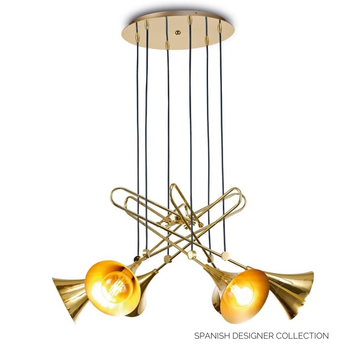 Swing - Large Musical Trombone 6 Light Feature Pendant - Polished Gold Plating