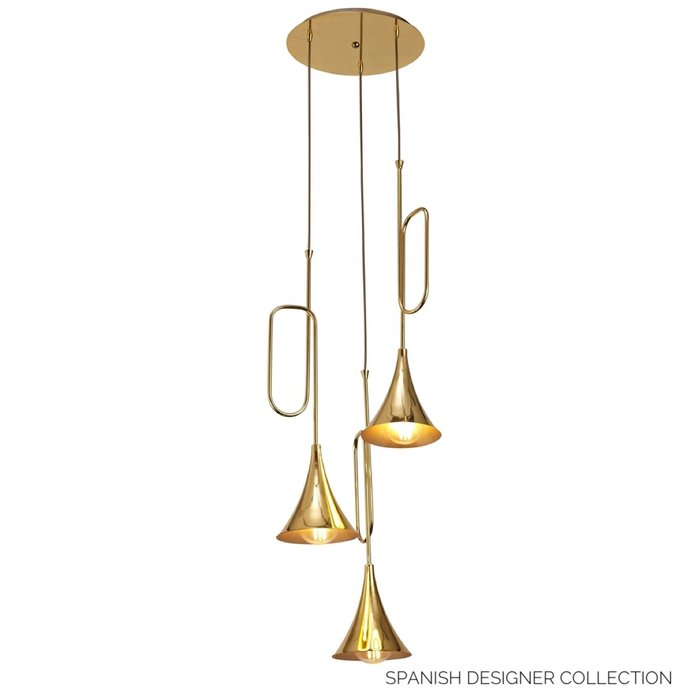 Swing - Musical Trombone 3 Light Cluster Pendant - Polished Gold Plating