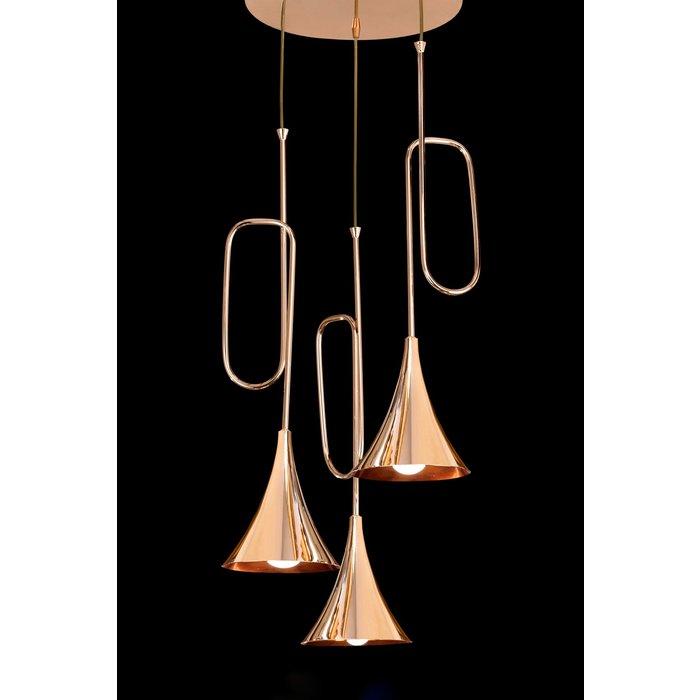 Swing - Musical Trombone 3 Light Cluster Pendant - Polished Gold Plating