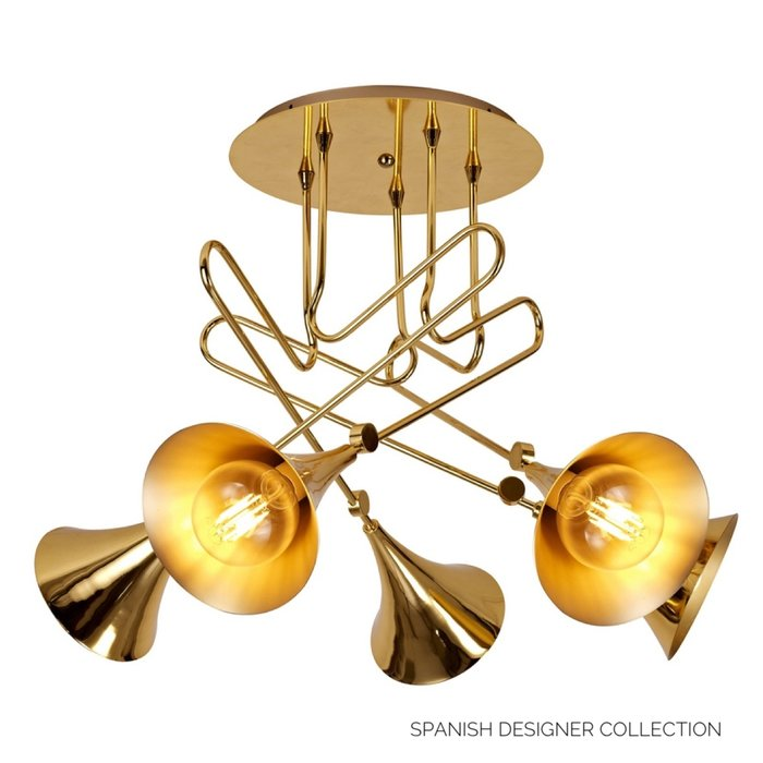 Swing - Musical Trombone  Semi-Flush Ceiling Light - Polished Gold Plating