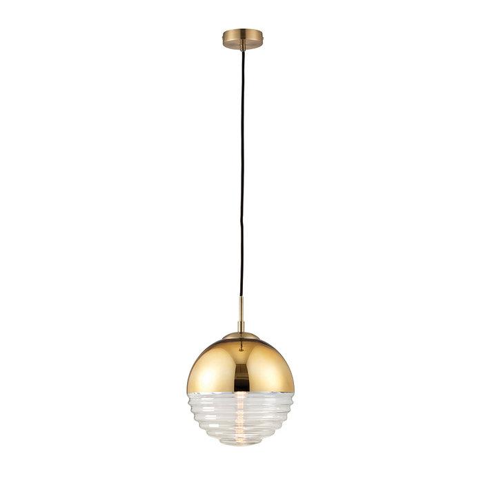 Ribbed & Gold Sphere - Modern Ceiling Pendant