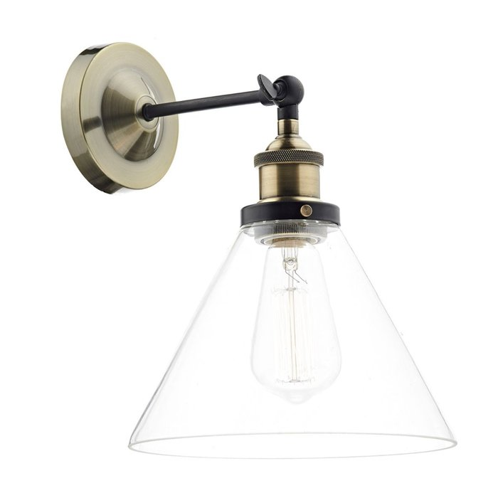 Industrial Glass Wing Nut Wall Light - Antique Brass