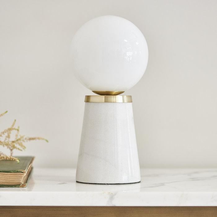 Dot - Mid Century Marble & Opal Globe Table Lamp