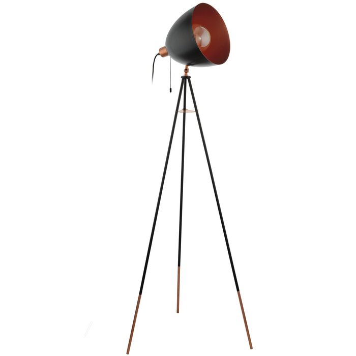 Cheshire - Black & Copper Tripod Floor Lamp