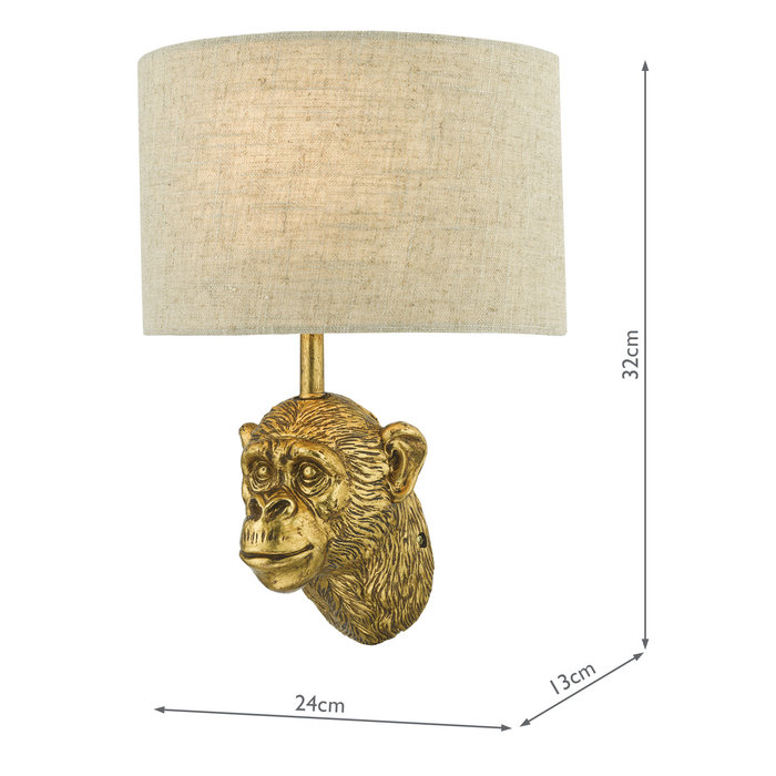 Marcel - Aged Gold Monkey Feature Wall Light