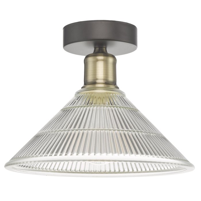 Bide - Industrial Flush Prismatic Glass Ceiling Light