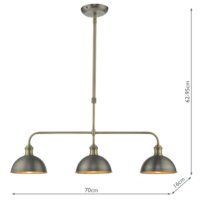 Grosvenor - Vintage Domed Kitchen/Dining Bar Pendant