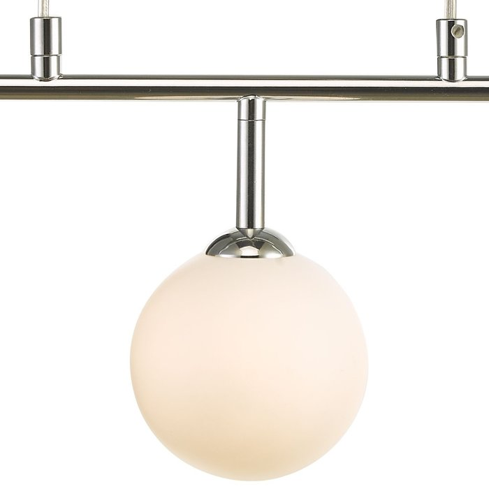 Faye - Mid Century 3 Light Chrome & Opal Bar Pendant