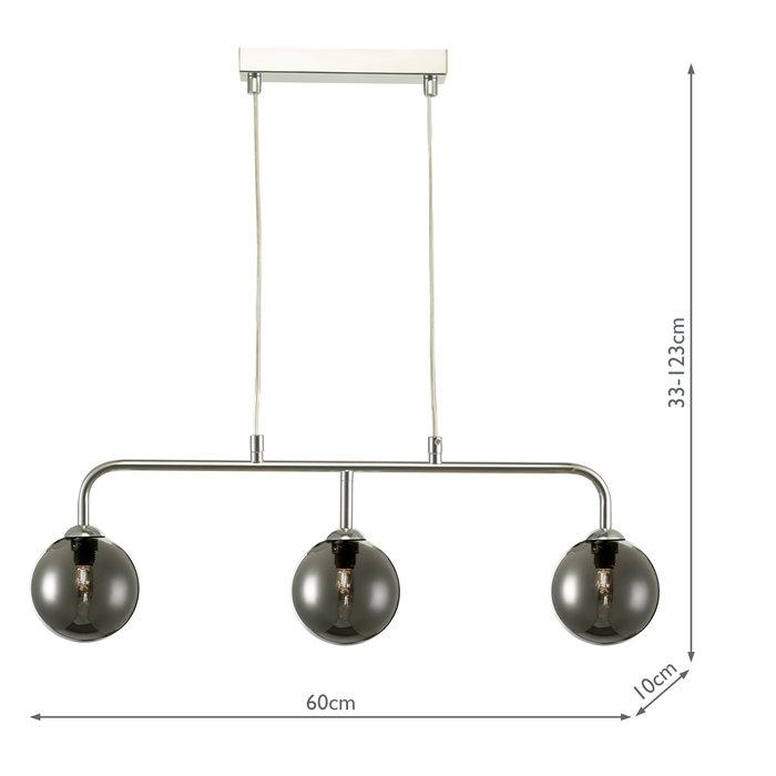 Faye - Modern 3 Light Chrome & Smoked Bar Pendant