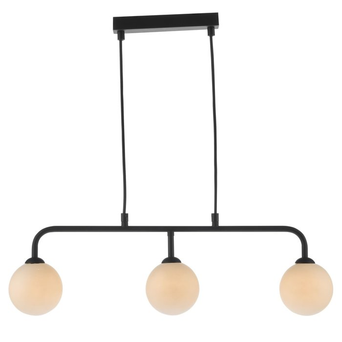 Faye - Mid Century 3 Light Black & Opal Bar Pendant