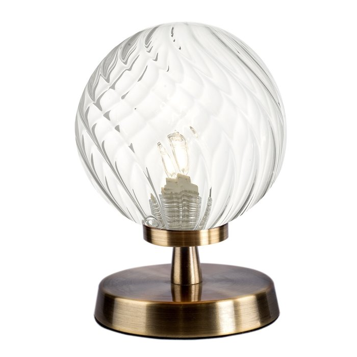 Aspen - Twisted Clear Glass Globe Touch Lamp - Antique Brass