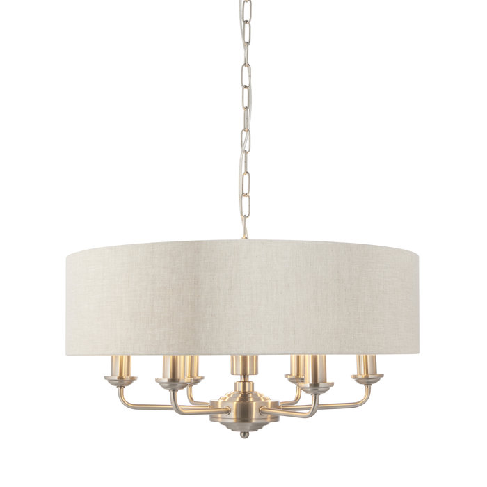 Townhouse - 6 Light Drum Chandelier - Natural Linen & Brushed Nickel
