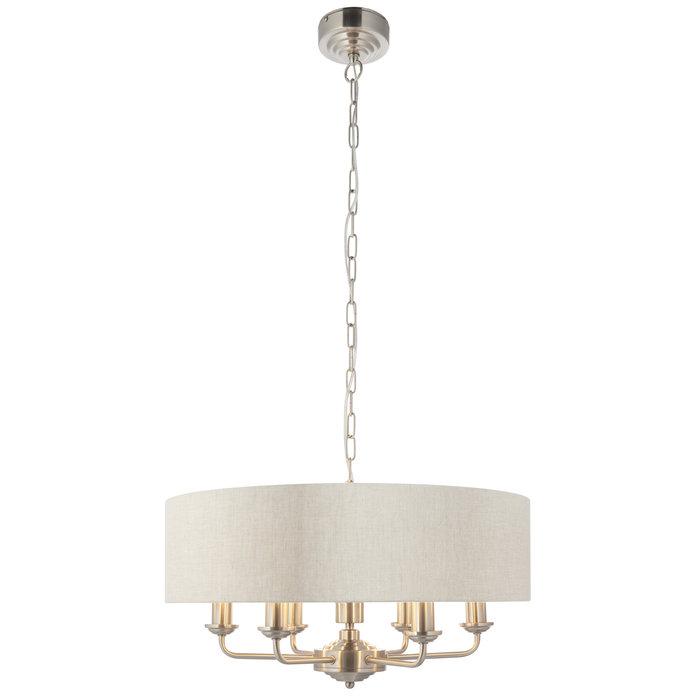 Townhouse - 6 Light Drum Chandelier - Natural Linen & Brushed Nickel
