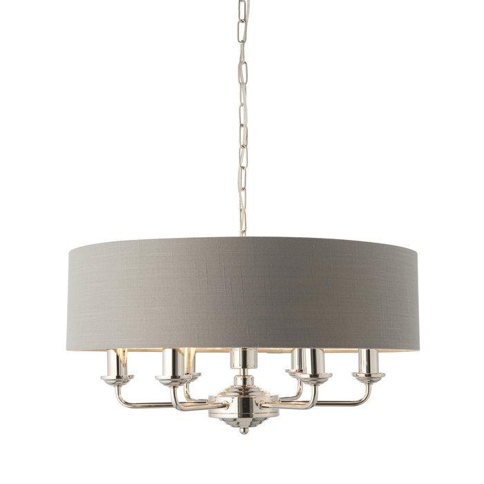 Townhouse - 6 Light Drum Chandelier - Charcoal Linen & Chrome