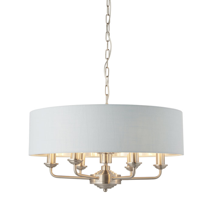 Townhouse - 6 Light Drum Chandelier - Duck Egg Linen & Brushed Chrome