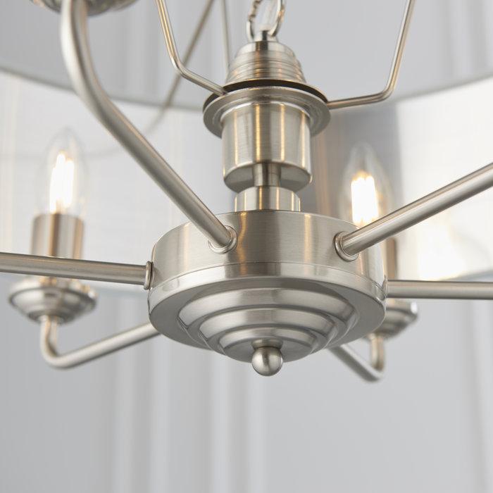 Townhouse - 6 Light Drum Chandelier - Duck Egg Linen & Brushed Chrome