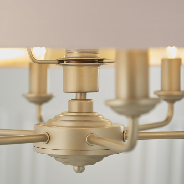 Townhouse - 6 Light Drum Chandelier - Blush Pink Linen & Champagne