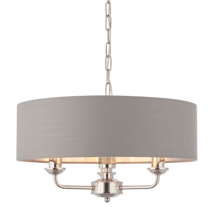 Townhouse - 3 Light Drum Chandelier - Charcoal Linen & Chrome