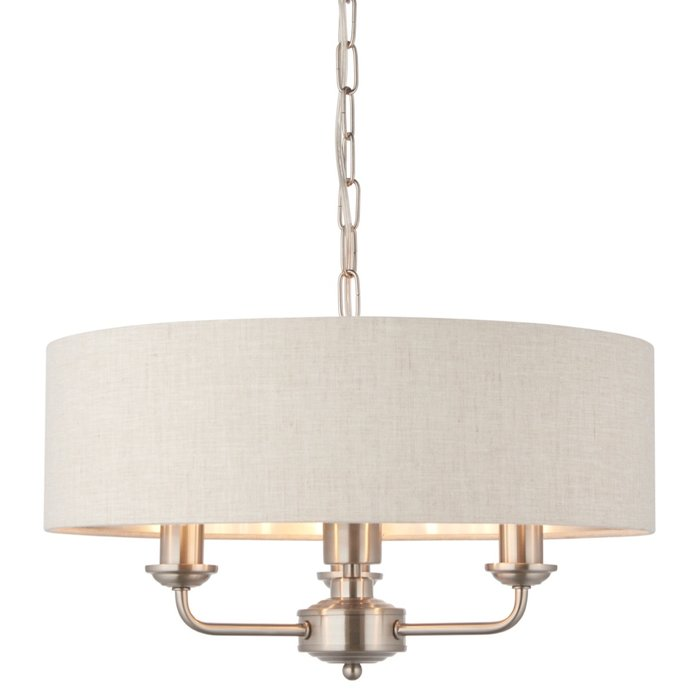 Townhouse - 3 Light Drum Chandelier - Natural Linen & Brushed Chrome