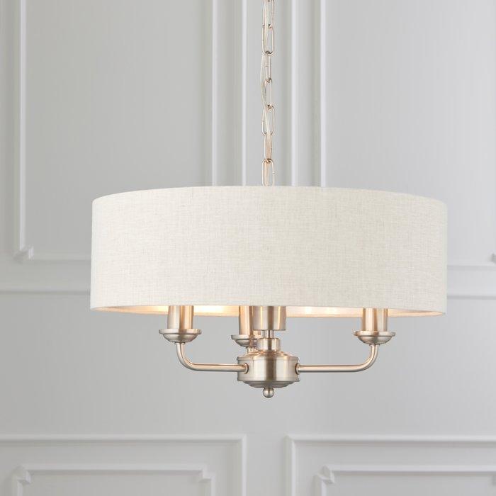 Townhouse - 3 Light Drum Chandelier - Natural Linen & Brushed Chrome