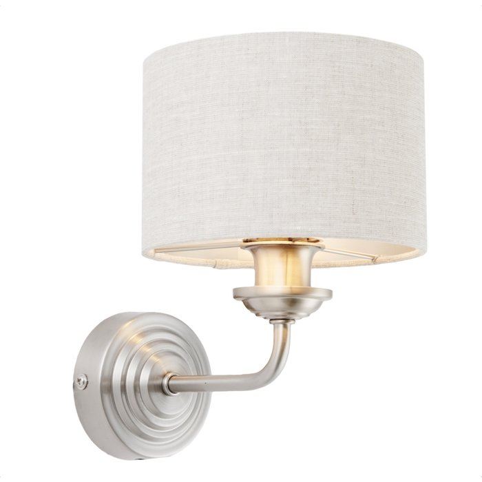Townhouse - Single Wall Light - Natural Linen & Brushed Chrome