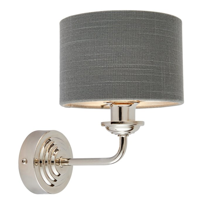 Townhouse - Single Wall Light - Charcoal Linen & Bright Nickel