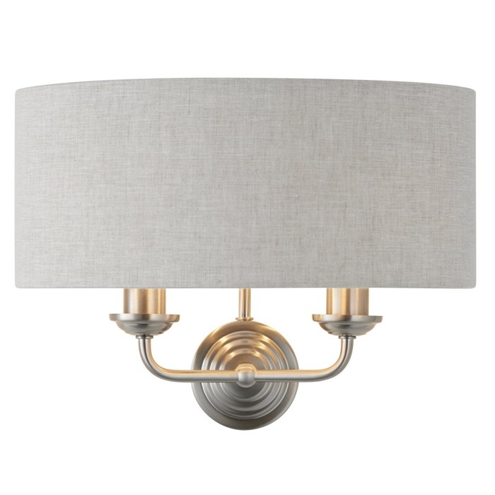Townhouse - Twin Chandelier Wall Light - Natural Linen & Brushed Chrome