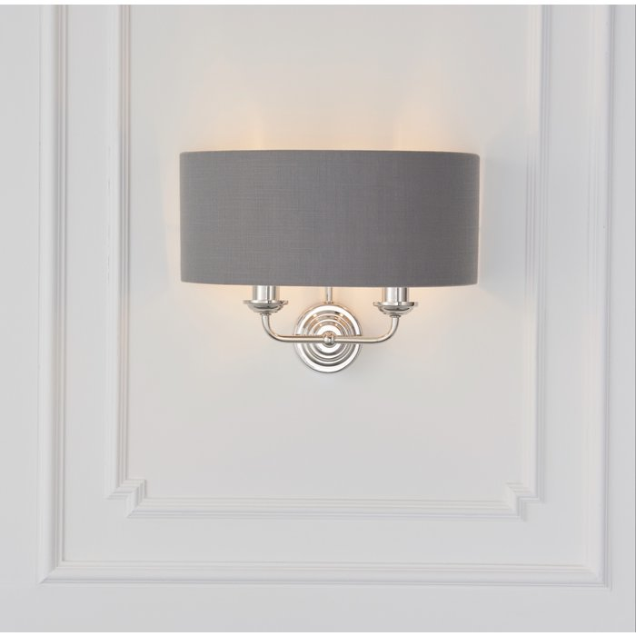 Townhouse - Twin Chandelier Wall Light - Charcoal Linen & Bright Nickel