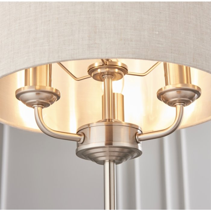 Townhouse - Chandelier Table Lamp - Natural Linen & Brushed Chrome